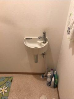 トイレ手洗い器の水栓の交換(自動水栓に交換)